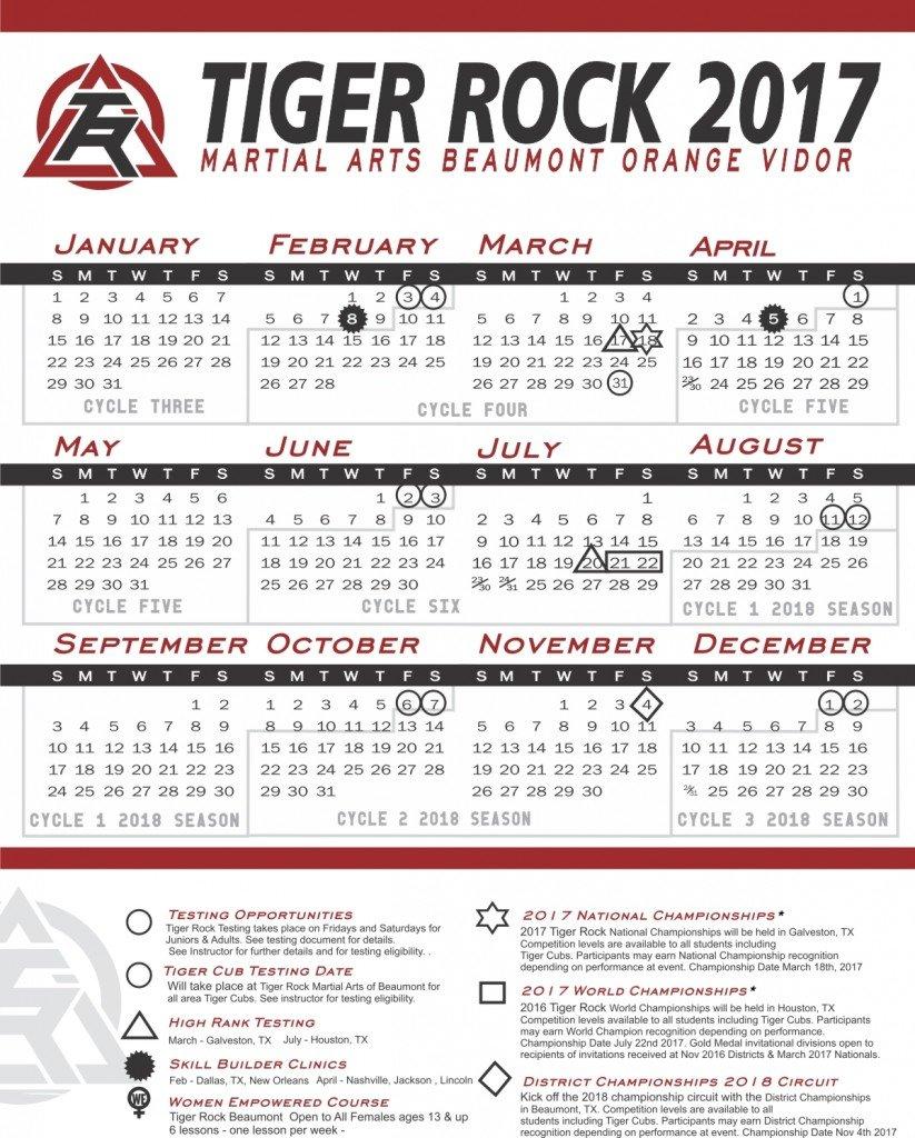 2017 calendar color