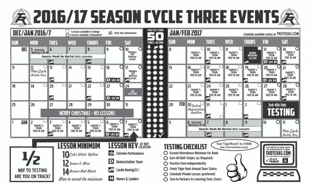 Tiger Rock Orange Cycle 3 2017 calendar