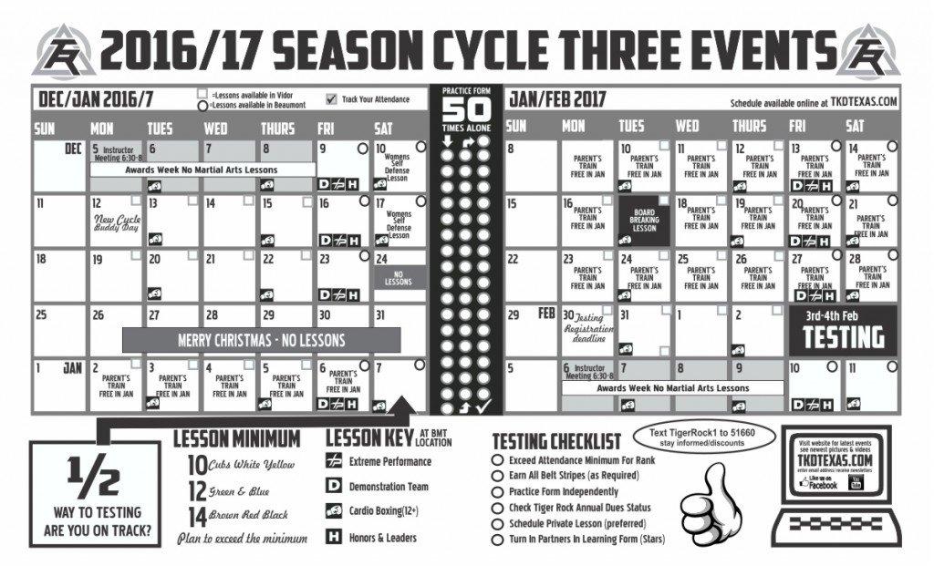 Tiger Rock Vidor Cycle 3 2017 calendar