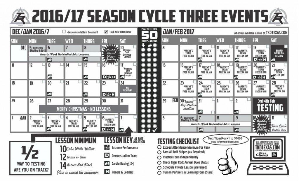Tiger Rock beaumont Cycle 3 2017 calendar