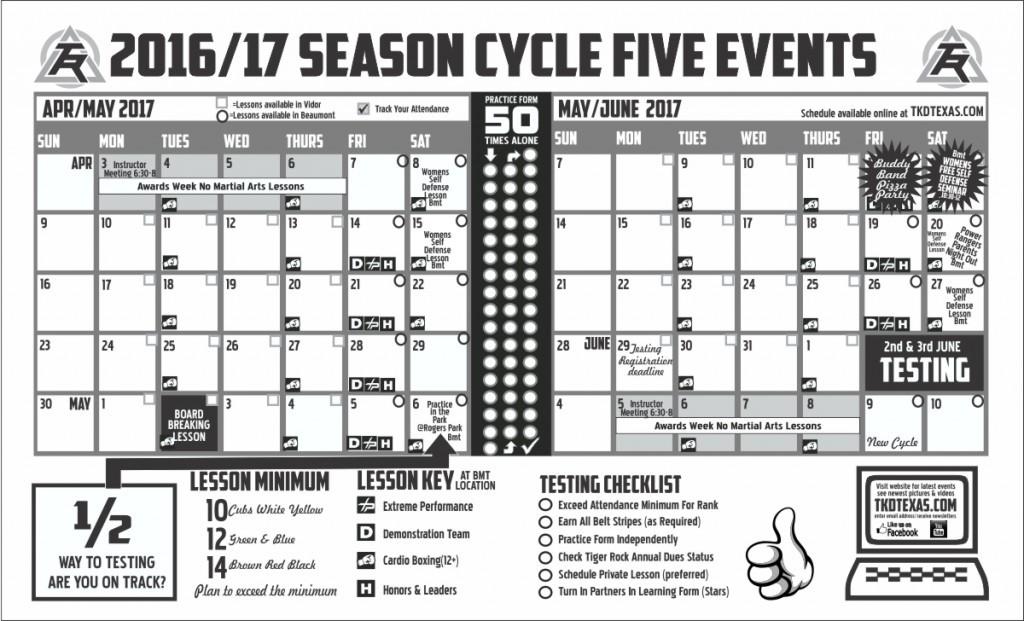 Vidor April May Calendar